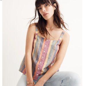 Madewell Rainbow Stripe Button Tank Size XL